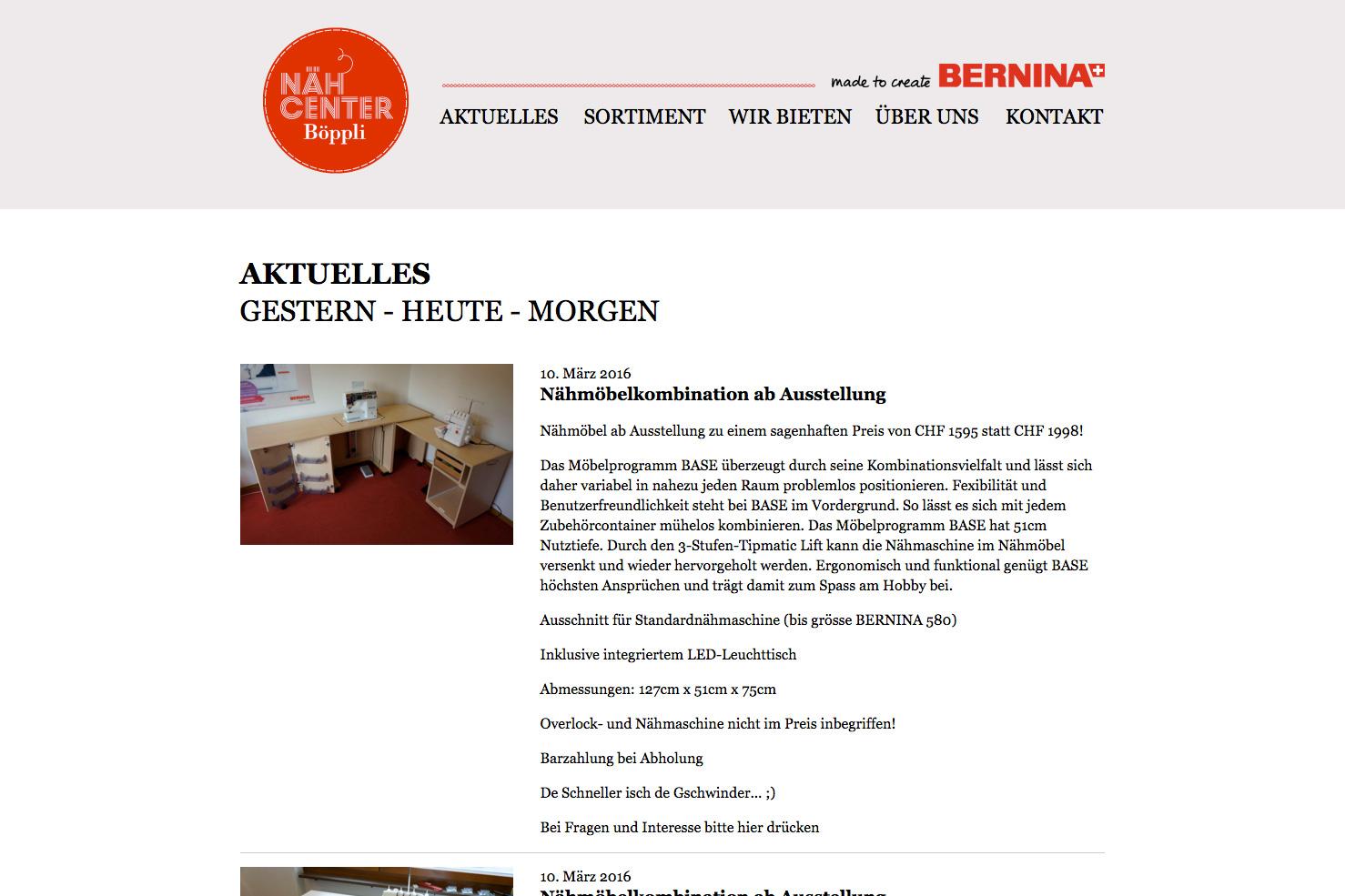 Bild 2 vom Böppli Nähcenter Webseite