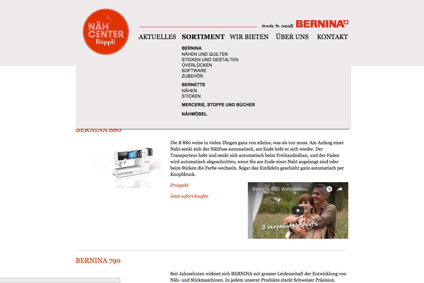 Bild 3 vom Böppli Nähcenter Webseite