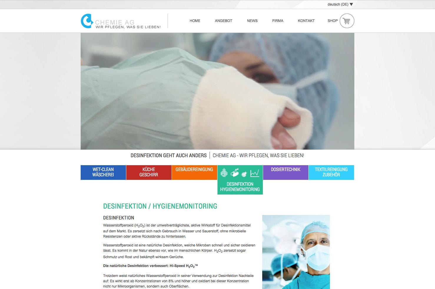 Bild 2 vom Chemie AG Webseite / Shop