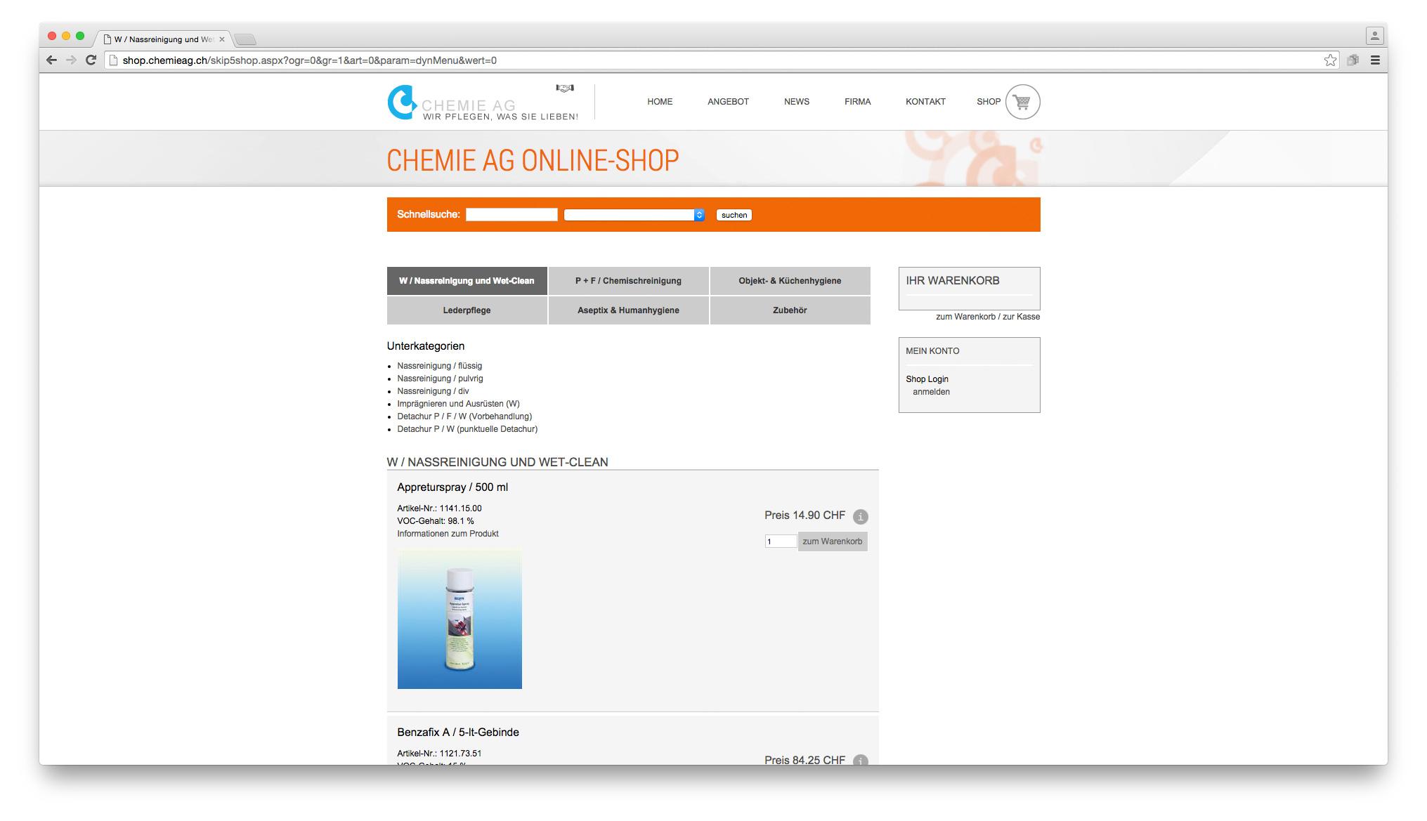 Bild 3 vom Chemie AG Webseite / Shop