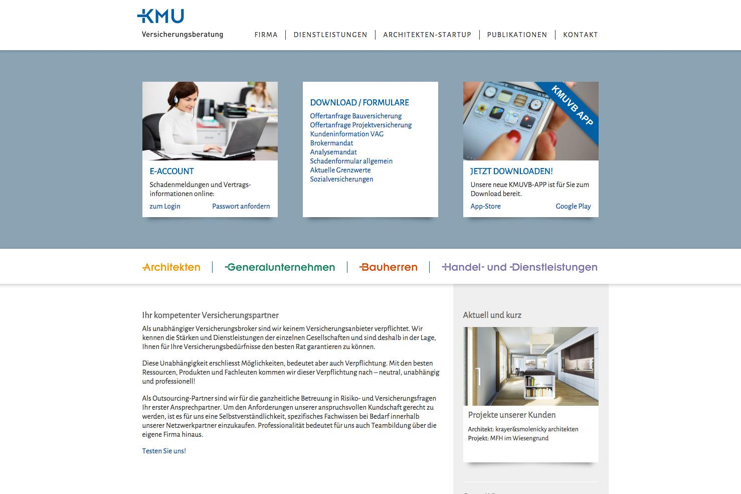 Bild 1 vom KMU Versicherungsberatung Webseite
